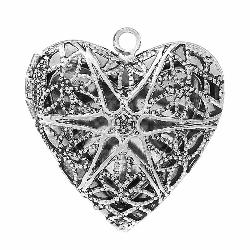 New Design Picture/ Photo Locket Heart Shaped Antique Silver Pattern Carved Frame Pendants