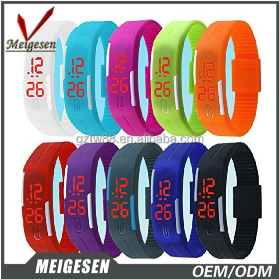 Meigesen Custom logo promotional LED watches led rubber wristwatch