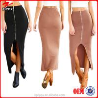 Women Bodycon Pencil Zipper High Waist Latest Long Midi Skirt Design