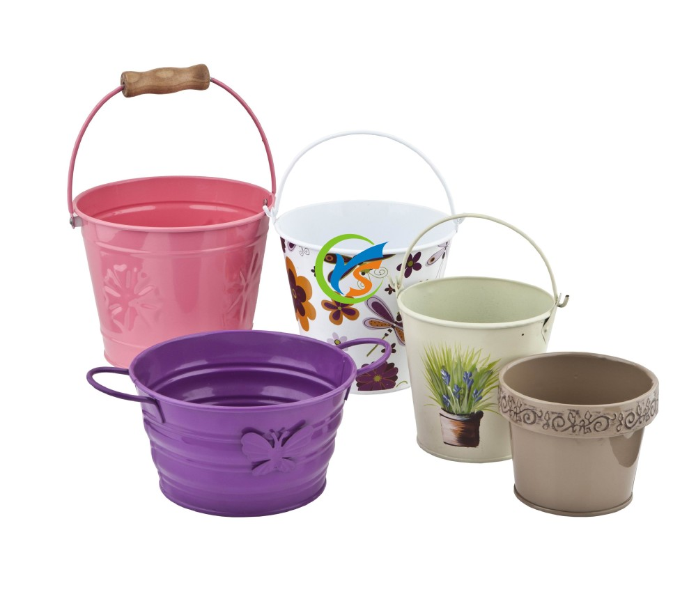 Home garden decorative flowers metal types of buckets
