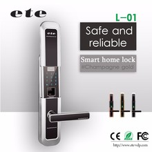 ETE anti-theft lock digital touch screen FINGER PRINT key card door lock electronic automatic door handles lock