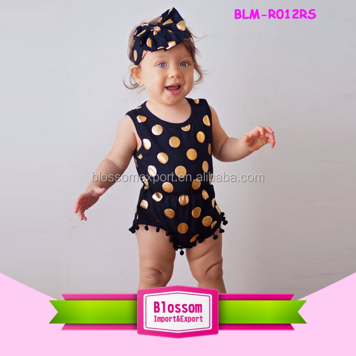 Feather Printing Baby Girl's Pom Pom Romper One Piece Jumpsuits Summer Kids Rompers And Playsuit Wholesale Baby Pompom Jumpsuit