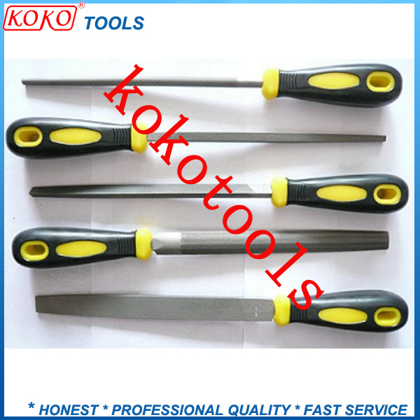 5pcs set flat/half round/round/triangular/square plastic handle steel files