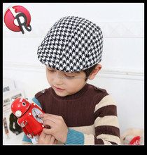 Infant kids baby houndstooth fabric newsboy hat cap