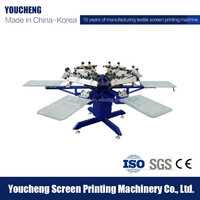 Korea Tech 6 colors 6 stations manual t shirt screen printing machine