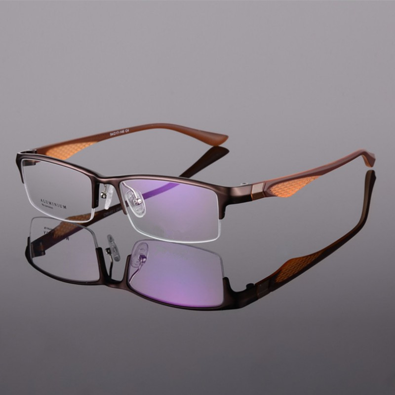 Metal Aluminium Fasion Trendy Eyeglasses Half Rim Optical Frame Prescription Spectacles Men Optical Glasses Frame