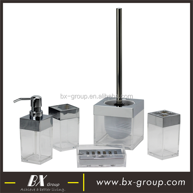 BX Group houseware manufacture transparent plastic bath collection accessory with square soap dispenser