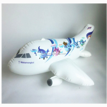lovely white and blue inflatable cartoon plane toy for kids