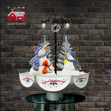 Christmas Decoration Snowing Snowman Family with Umbrella Base