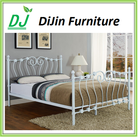 Modern Luxury Royal French Style King Queen Size Cream White Metal Bed bedroom furniture