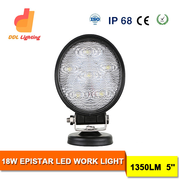 Car Accessories18W 5inch led round work light for truck SUV snowmobiles SPOT FLOOD Lighting