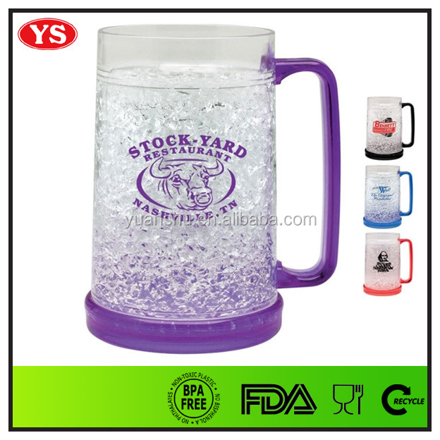 double wall 450 ml plastic beer mug freezer