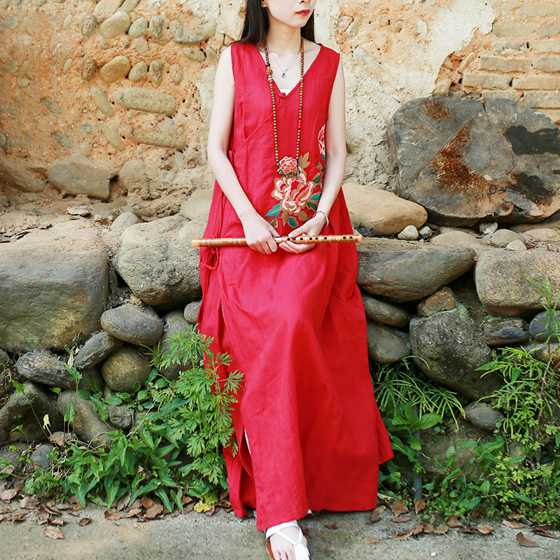 Chinese hanfu elegant women vintage dress v-neck sleeveless cotton linen beach dresses embroidery maxi dress with belt robe