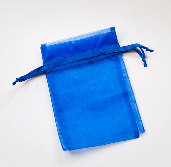 High quality Royal Blue Organza Sheer Fabric Bags for jewelry