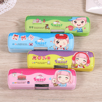 Cute cartoons for kids mini magnetic pvc plastic pencil cases with two sides