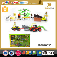 Pull back toys metal truck with tree and farm animal