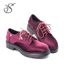 Newest Velvet Women lady girl flat Casual dress Derby shoes A01A07B