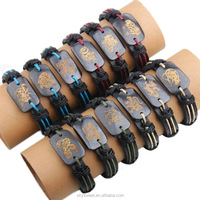 Twelve zodiac animal shape leather braided bracelet,zodiac jewelry from skysweet wholesale(PR974)