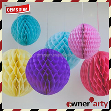 Round Hot Sale Funny Solid Color Ball Lanterns Honeycomb Paper Ball Decorations