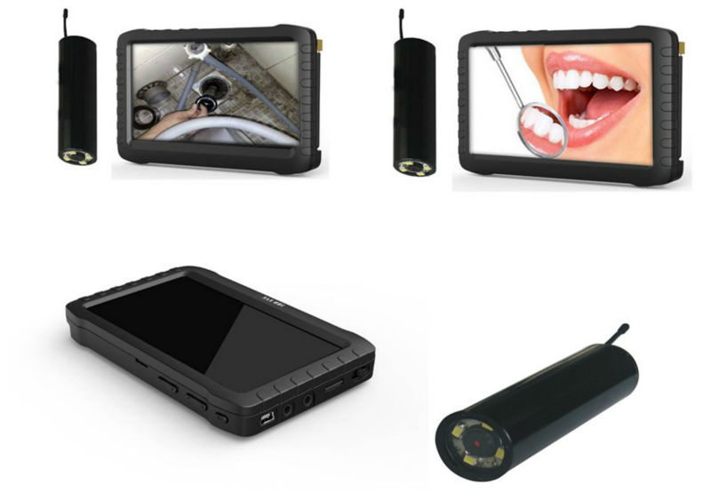"Real time 5"" HD screen 800*480 pixel 8 CHS DVR with 6 LED wireless inspection camera for home, car, dental usage"