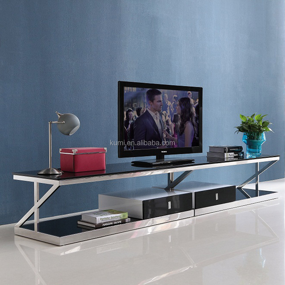 Stainless steel glass TV stand