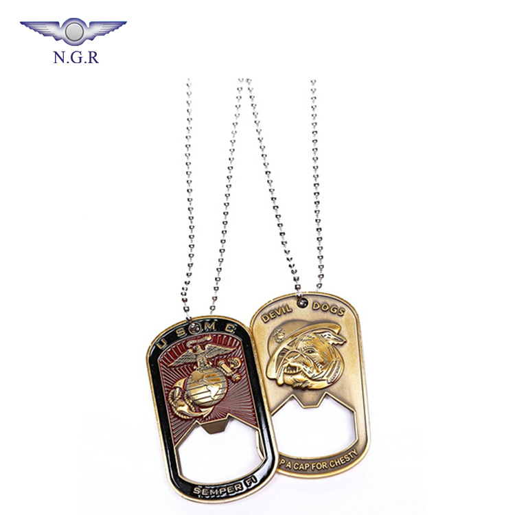 Factory wholesale zinc alloy dog tag bottle opener with keychain and custom logo