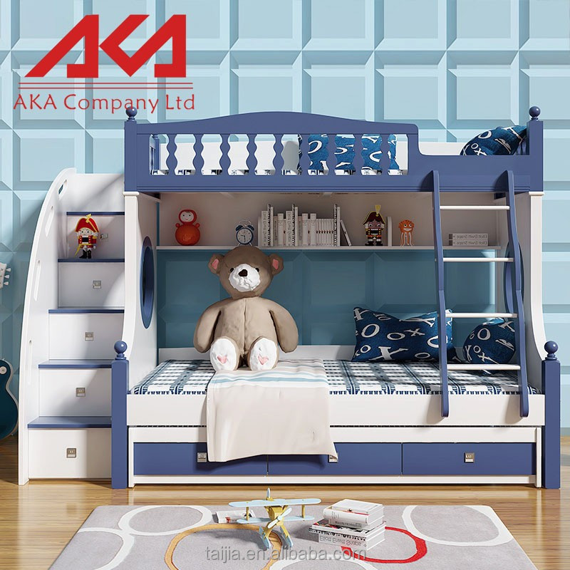 Wood style very simple lines kids bedroom furniture