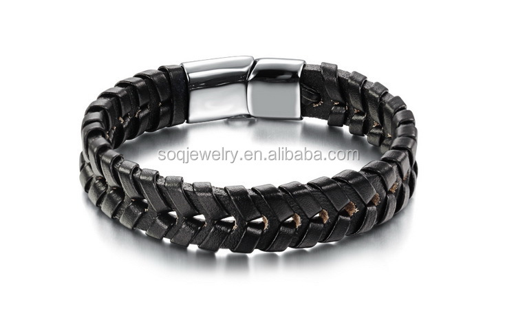 Wholesale Luxury Stingray Leather Bracelet with Stainless Steel Double Woven Jewelry