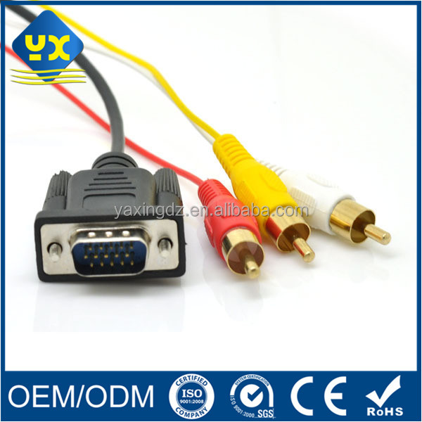 Factory wholesale HDB15 Pin male to 3RCA male VGA cable for display device