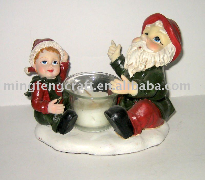 polyresin gnome candle holder