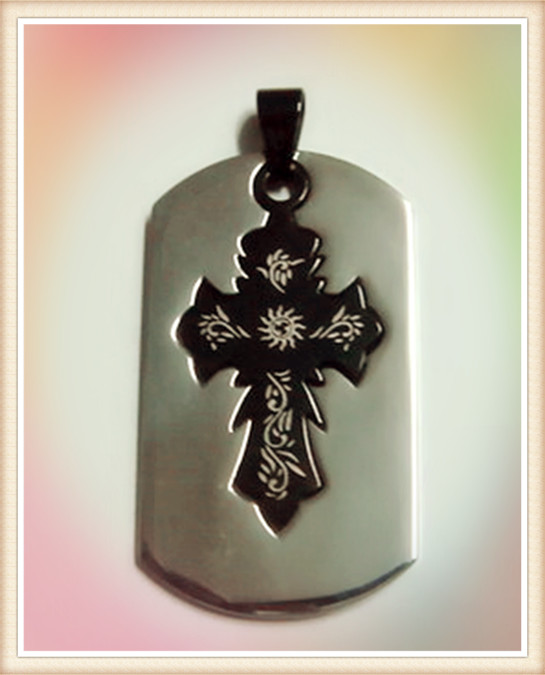 alibaba china supplier wholesale good quality high polish cross design stainless steel dog tag christian