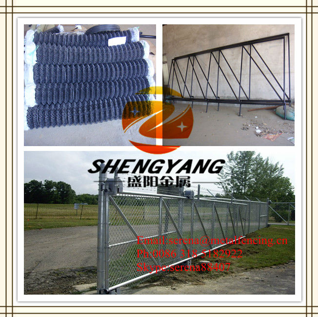 chian link fence slide gate with roller