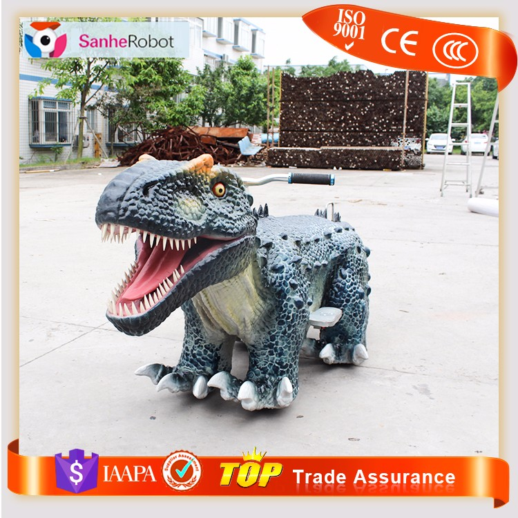 Sanhe Robot zoo silicone rubber electric dinosaur toy ride car for kids