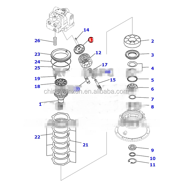 706-7K-41710 plate, valve for pc300-8 swing motor assembly
