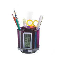 New Design Brush Pot Pen Holder With Digital Calendar Clock And 4 Ports USB Hub