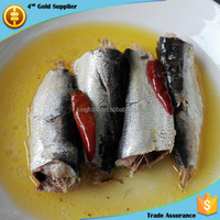 high quality canned sardine in oil with chili OEM brand 125g canned sardine