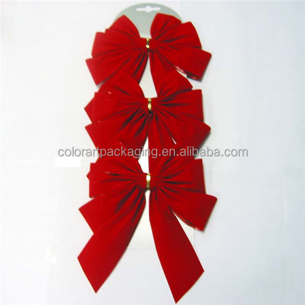 Christmas small pre made red velvet ribbon butterfly bows