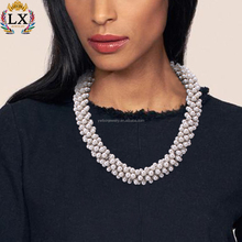 NLX-00350 Unique handmade beads silver plated imitation artificial pearl fashion jewellery necklace