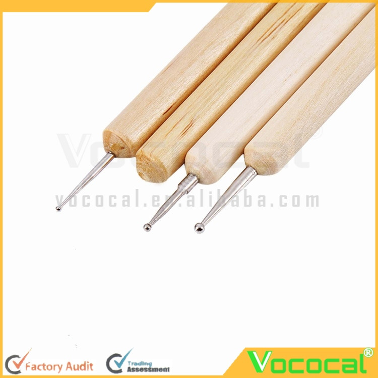 4 Pcs Wooden Handle Stainless Steel Ball Stylus Polymer Clay Pottery Ceramics Sculpting Modeling Pen Tools