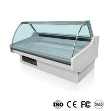 Open curved glass used meat display refrigerator case with CE certification