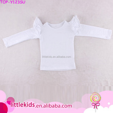 New Design Girl Three Layers Ruffle Raglan Cotton Shirts Baby Flutter Long Sleeves White Tops T-shirt For 0-10 Years