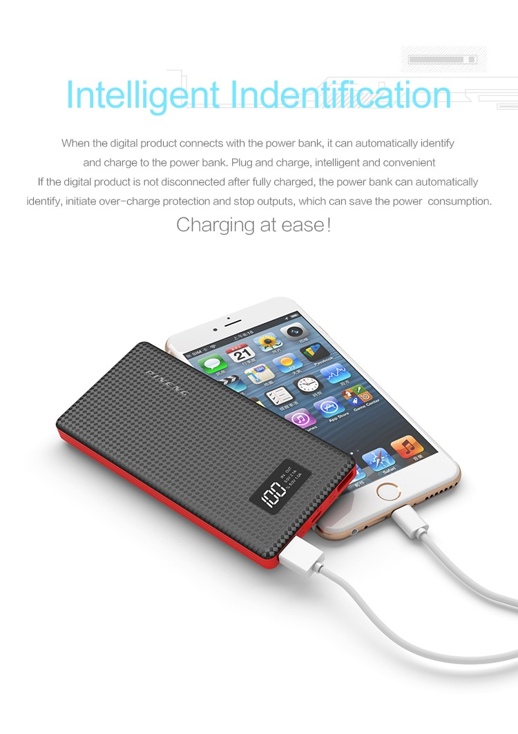 High Capacity 10000 mah mobile power supply with double USB port
