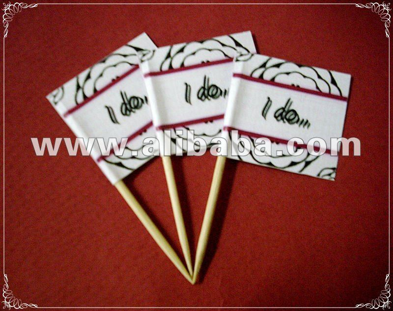 Wedding Theme Party Toothpick Flag Food Pick Design I