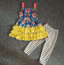 Lovely Girls Cotton outfits colours designs dress with Wholesale girls summer boutique clothing set