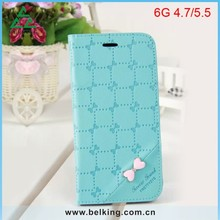 Girls Beauty Candy Color Wallet Bowknot PU Case For iPhone6/ 6 Plus