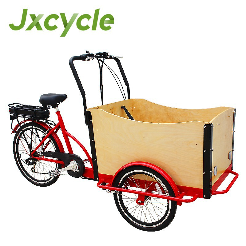 three wheel electric cargo bicycle with cargo box