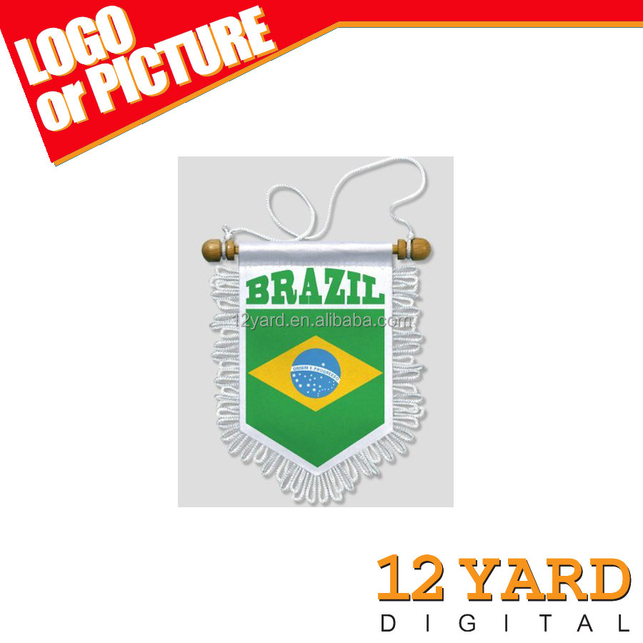 2016 Brazil national cheap logo flag & decorative on string hand flags