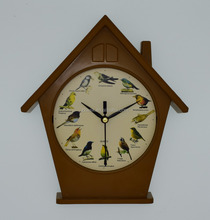 Beautiful house shap wall clock and desk clock 2in1 function with bird sound