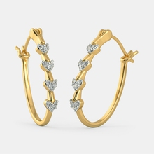 heart crystal plated gold earrings designs for girls