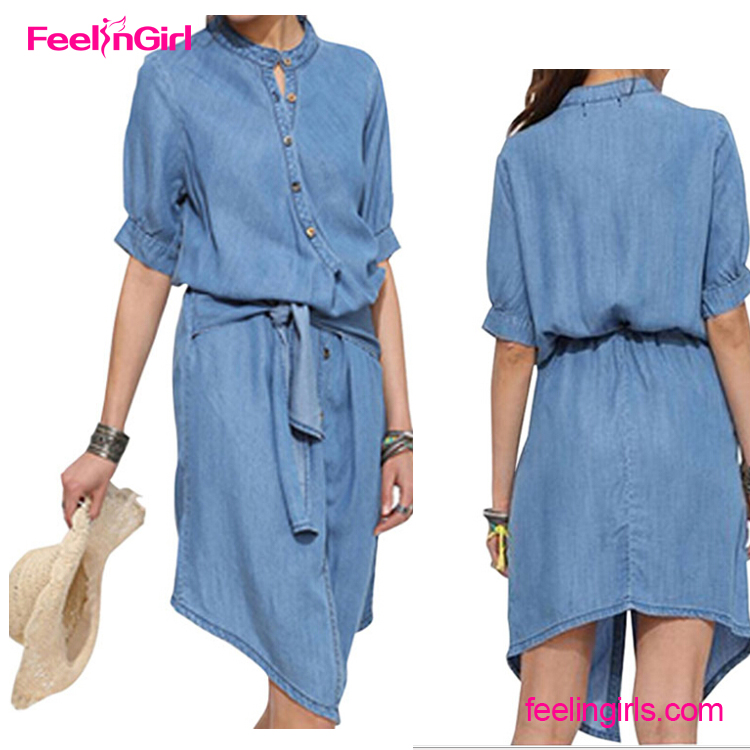 Private Label Hot Selling Formal Light Blue Jeans One-piece Denim Dress